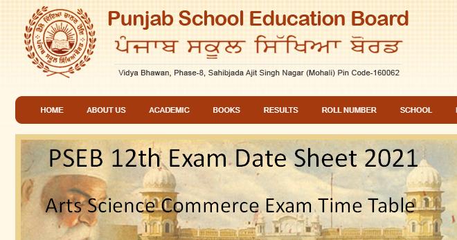 Pseb 12th Exam Date Sheet 2021 Download Pseb Class 12th Exam Time Table Kvsro